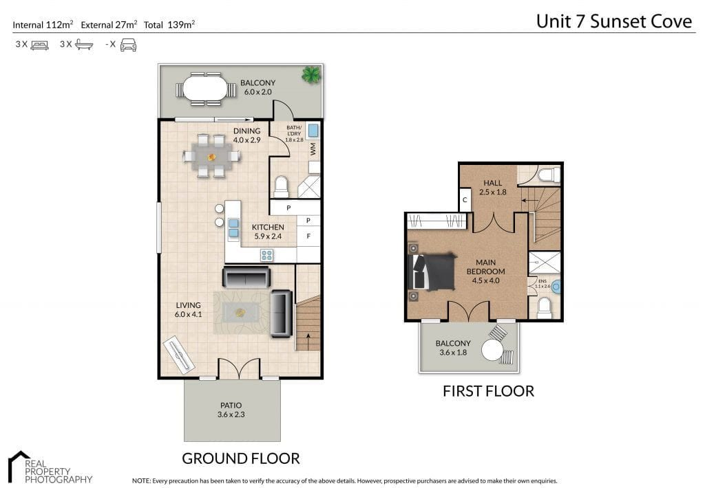Unit 7 Villas 1024x710 1 Bed Config